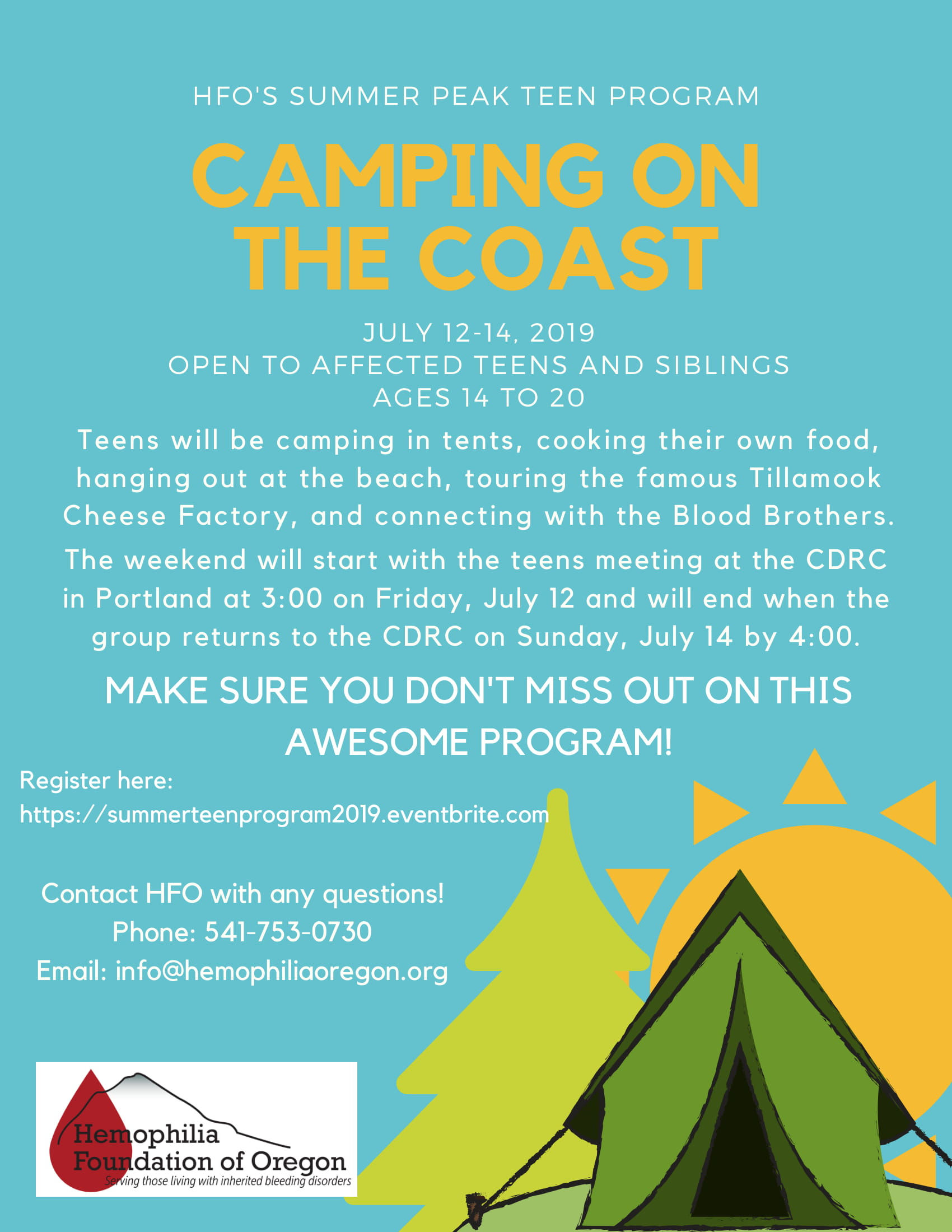Flyer for Camping on the Coast from HFO